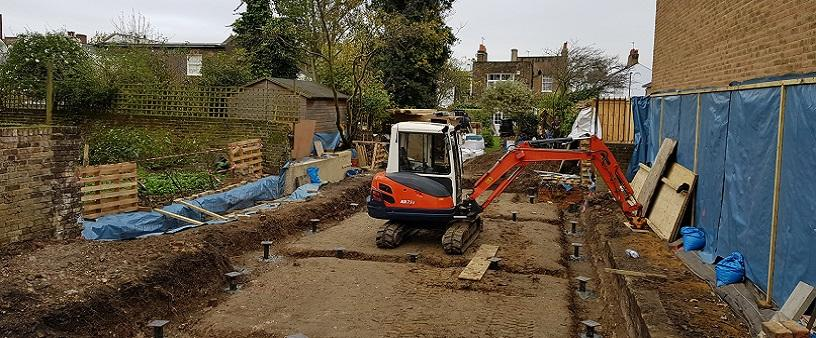 CHANCE screw pile foundations for new build in Kentish Town