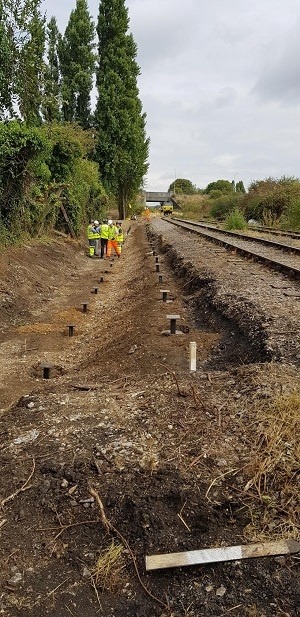 Heathrow airport rail foundations no vibration, contaminated ground no spoil removal