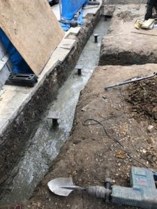 House extension screw pile foundations quick and restricted acess piling