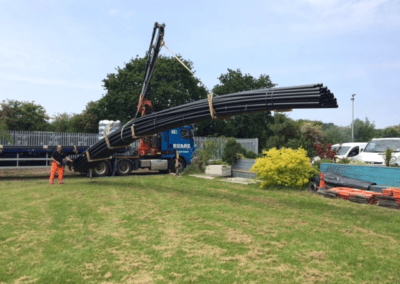Pipe work being delivered