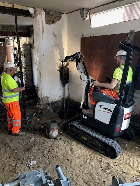 46 Screw Piles Installed & Held In White City Basement
