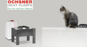 Air source heat pump connected to standard existing radiators